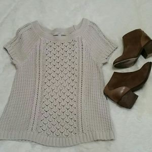 LOFT chunky knit short sleeve cotton sweater